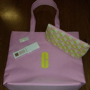 NEW CLINIQUE PINK GIFT TOTE BAG COSMETIC POUCH +++